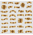 golden ribbon set isolated transparent background vector image vector image