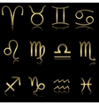 Golden zodiacal signs vector image