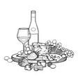 graphic wine glass and bottle decorated with vector image vector image