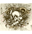 grunge music background with skull vector image vector image