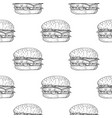 hamburger seamless pattern hand drawn sketch vector image