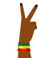 hand of african woman showing victory sign vector image vector image