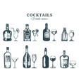 hand sketched bottles and glasses alcoholic vector image vector image