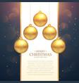 hanging golden christmas balls festival greeting vector image vector image