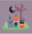 happy halloween pumpkin costume cat moon vector image vector image