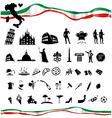 ITALIAN symbol set with flag vector image