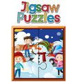 jigsaw puzzle game template kids and snowman vector image vector image