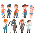kids various professions set soccer player vector image vector image