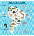 Map of south America continent with animals vector image vector image