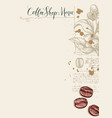 menu for coffee shop with coffee beans and twig vector image