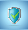 metal shield icon with green check mark vector image vector image