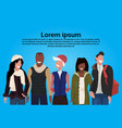 mix race people group wearing winter clothes vector image