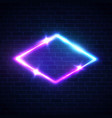 night club neon light rhombus frame on brick wall vector image vector image