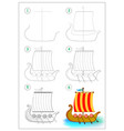 page shows how to draw step step toy viking vector image vector image