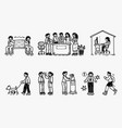 people in new normal doodle vector image vector image