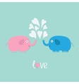 Pink and blue elephants with heart fountain Love vector image vector image