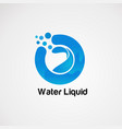 pure water liquid on blue logo concept icon