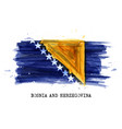 realistic watercolor painting flag bosnia vector image