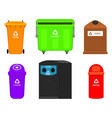 recycling garbage elements bag or containers vector image