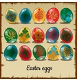 set fifteen colorful easter eggs vector image vector image