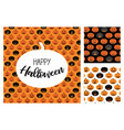 set halloween scary pumpkins pattern set vector image