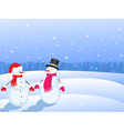 snowmans in winter landscape vector image vector image