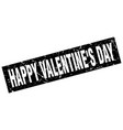 square grunge black happy valentines day stamp vector image vector image