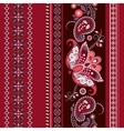 Striped seamless ethnic pattern Paisley wallpaper vector image