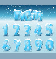 stylized ice digits vector image