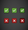 Three State Buttons - Confirm or Reject vector image