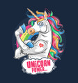 unicorn cute and funny muscle cartoon artwork vect vector image