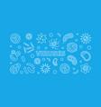 viruses blue horizontal banner virus line vector image vector image