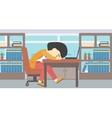 Woman sleeping on workplace vector image vector image