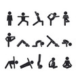 yoga human stick set abstract oriental postures vector image