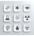 Science icons set - white app buttons vector image