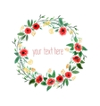 Watercolor Wreath With Flowers vector image