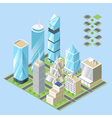 3d isometric of city buildings vector image