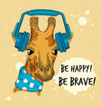 animal in headset pop fashion style placard funny vector image
