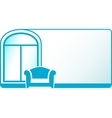 armchair and glossy window on blue background vector image vector image
