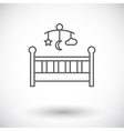 Baby bed icon flat vector image vector image