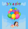 baby girl falling down on bunch of helium vector image vector image