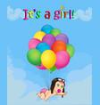 baby girl falling down on bunch of helium vector image