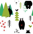 bear in forest seamless pattern vector image