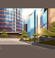 beautifil city street sunset skyline high vector image vector image