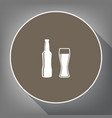 beer bottle sign white icon on brown vector image