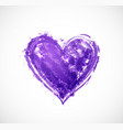 big ultraviolet purple grunge heart on white vector image vector image