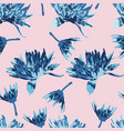 blue mums on pink background seamless pattern vector image vector image