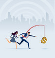 business people chasing money on fishing rod vector image vector image