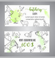 butchery gift voucer hand drawn farm animals vector image vector image
