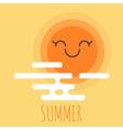 cartoon summer background with happy smiley sun vector image